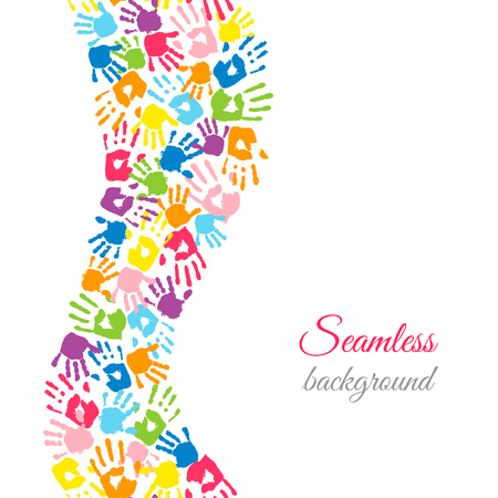 Colored hands on white. Wavy stripe made of handprints. Seamless border. Endless colorful background. Vector illustration Vettoriali