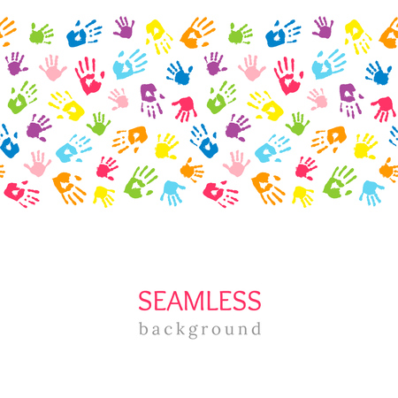 Colored hands on white. Seamless horizontal border made of handprints. Endless colorful background. Vector illustration Vectores