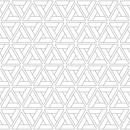 Abstract geometric background made of triangles with rounded corners. Vector seamless pattern. Linear design