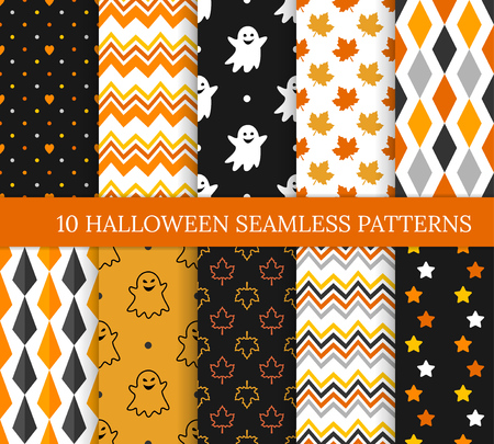 Ten Halloween different seamless patterns. Endless texture for wallpaper, web page background, wrapping paper and etc. Smiling cute ghosts, rhombus, zigzags and color maple leaves Standard-Bild - 122489191