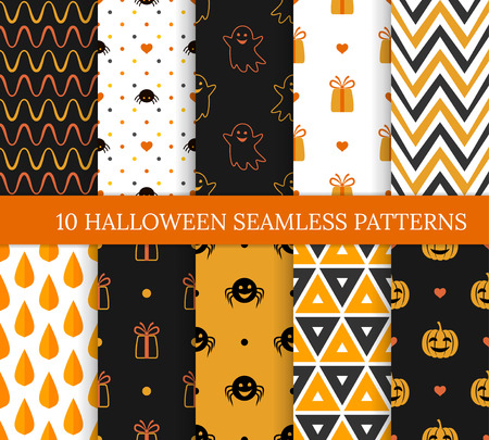 Ten Halloween different seamless patterns. Endless texture for wallpaper, web page background, wrapping paper and etc. Pumpkins and smiling ghosts, spiders, zigzags, triangles, leaves and gifts Standard-Bild - 125120992