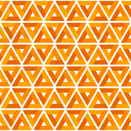 Geometric background made of triangles with rounded corners. Orange seamless pattern. Abstract vector backdrop. Retro design