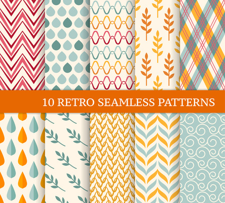 Ten retro different seamless patterns. Endless texture for wallpaper, fill, web page background, texture. Colorful geometric background. Twigs, leaves, zigzags, drops, waves and curved lines