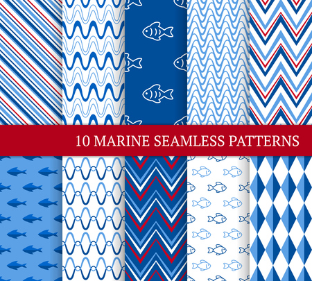 Ten marine different seamless patterns. Vector illustration for nautical design. Endless retro background. Set of sea  backdrop with waves, rhombuses, zigzags and fishes Standard-Bild - 125121000