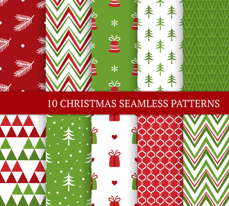 Ten Christmas different seamless patterns. Xmas endless texture for wallpaper, web page background, wrapping paper and etc. Retro style. Zigzags, bells, curls, gifts, fir branches and Christmas trees 免版税图像 - 125121001