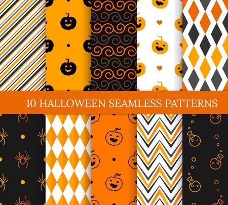 Dieci diversi modelli senza cuciture di Halloween. Texture infinita per carta da parati, sfondo della pagina web, carta da regalo e così via. Sorridenti zucche carine, ragni, pozioni, zigzag e spirali Vettoriali