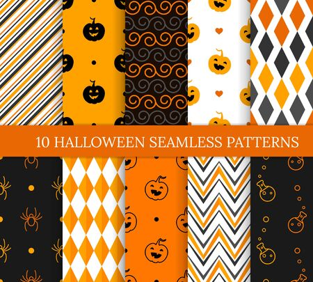 Ten Halloween different seamless patterns. Endless texture for wallpaper, web page background, wrapping paper and etc. Smiling cute pumpkins, spiders, potions, zigzags and spirals Ilustração