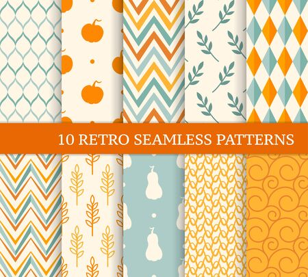 Ten retro different seamless patterns. Endless texture for wallpaper, fill, web page background, texture. Colorful geometric background. Twigs, pumpkins, zigzags, rhombuses and curved lines Ilustração