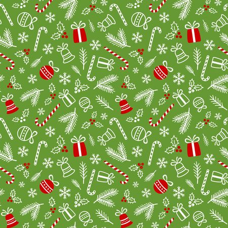 Christmas background with bells, balls, holly berries, presents and branches of fir tree. Red and white symbols of xmas on green. Seamless backdrop. Endless texture for web page, wrapping paper Ilustração