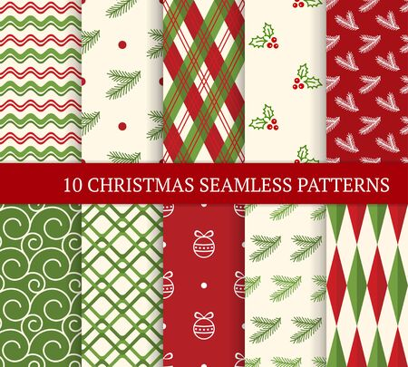 Ten Christmas different seamless patterns. Xmas endless texture for wallpaper, web page background, wrapping paper and etc. Retro style. Waves, argyles, holly berries, fir twigs and Christmas balls 矢量图像