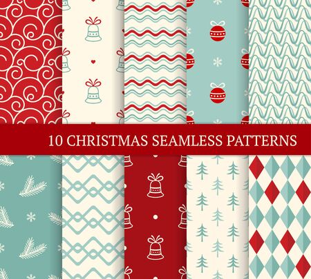 Ten Christmas different seamless patterns. Xmas endless texture for wallpaper, web page background, wrapping paper and etc. Retro style. Waves, curved lines, fir branches, Christmas balls and bells 免版税图像 - 133338467
