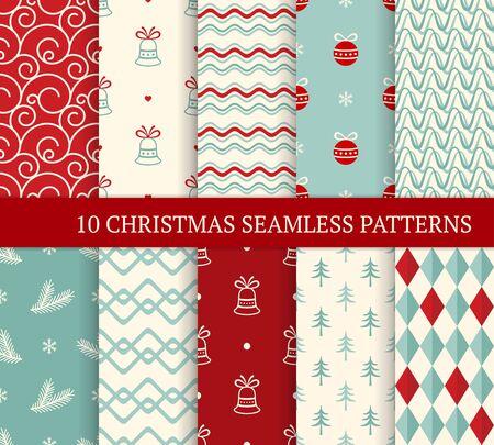 Zehn verschiedene nahtlose Muster zu Weihnachten. Weihnachten endlose Textur für Tapeten, Webseitenhintergrund, Geschenkpapier usw. Retro-Stil. Wellen, geschwungene Linien, Tannenzweige, Weihnachtskugeln und Glocken