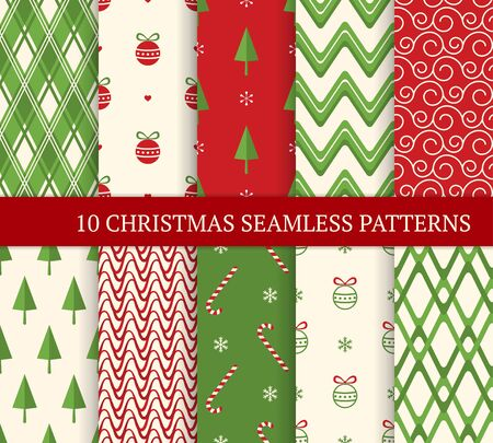 Ten Christmas different seamless patterns. Xmas endless texture for wallpaper, web page background, wrapping paper. Retro style. Waves, zigzags, curved lines, candies, Christmas balls and trees Ilustração