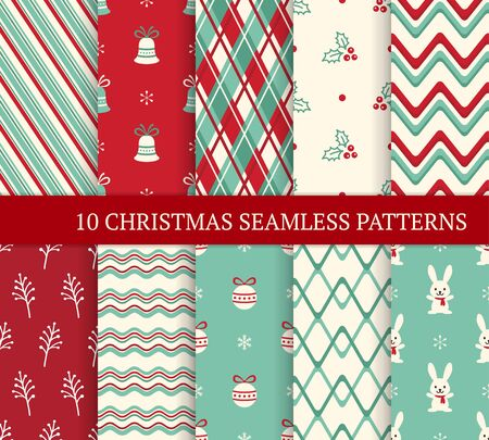 Ten Christmas different seamless patterns. Xmas endless texture for wallpaper, web page background, wrapping paper. Retro style. Waves, zigzags, twigs and berries, bunnies, Christmas balls and bells Ilustração
