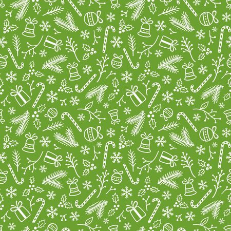 Christmas background with bells, candies, balls, presents, tree's branches and berries. White symbols of Xmas on green. Seamless backdrop. Endless texture for web page, wrapping paper and etc Ilustração