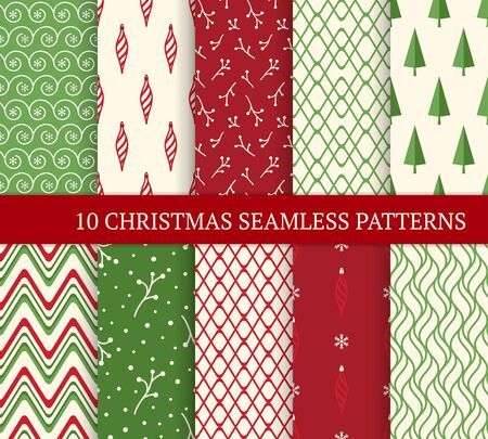 Ten Christmas different seamless patterns. Xmas endless texture for wallpaper, web page background, wrapping paper. Retro style. Waves, zigzags, trees, Christmas decorations and branches 免版税图像 - 134323368