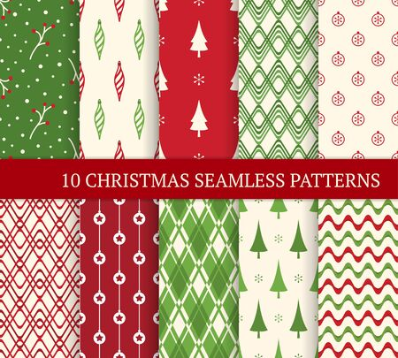 Ten Christmas different seamless patterns. Xmas endless texture for wallpaper, web page background, wrapping paper. Retro style. Waves, branches, Christmas balls and trees