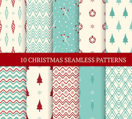 Ten Christmas different seamless patterns. Xmas endless texture for wallpaper, web page background, wrapping paper. Retro style. Waves, zigzags, twigs and berries, Christmas balls and trees