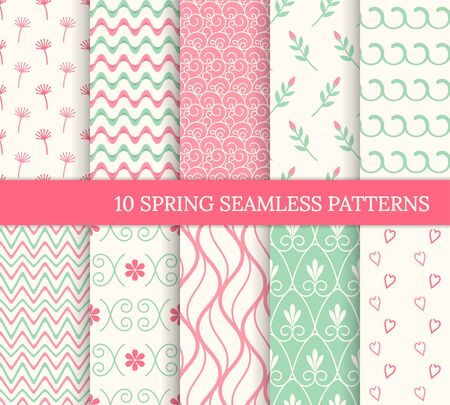 Ten spring seamless patterns. Romantic pink backgrounds for Valentine's or Mother's day. Endless texture for wallpaper, web page, wrapping paper. Retro love style. Waves, flowers, swirls, hearts