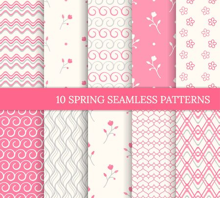 Ten spring seamless patterns. Romantic pink backgrounds for Valentine's or Mother's day. Endless texture for wallpaper, web page, wrapping paper. Retro love style. Wave, flower, swirl, branch 免版税图像 - 137777423