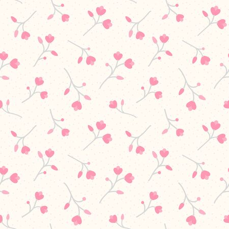Seamless pattern with pink flowers. Dotted beige background with stylized blossom branches. Endless floral texture for wallpaper, web page, wrapping paper and etc. Retro style.