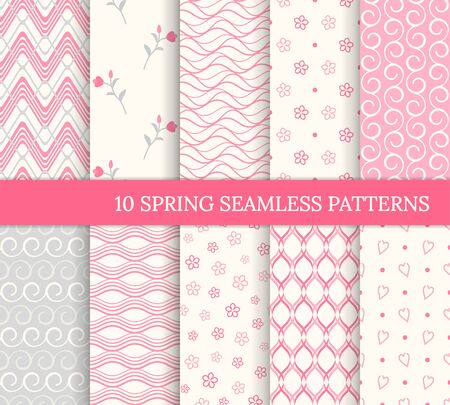 Ten spring seamless patterns. Romantic pink backgrounds for Valentine's or Mother's day. Endless texture for wallpaper, web page, wrapping paper. Retro style. Wave, flower, curl, heart 免版税图像 - 139017315