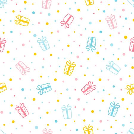 Holiday seamless pattern. Colorful background with ornate gift box and dots. Endless texture for wallpaper, web page, wrapping paper and etc. Retro style. 矢量图像