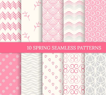 Ten spring seamless patterns. Romantic pink backgrounds. Endless texture for wallpaper, web page, wrapping paper. Retro style. Waves, flowers, curves, hearts, tiles