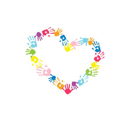 Heart made of the handprints of father, mother and children. Colorful handprints on white background. Vector illustration for your holiday