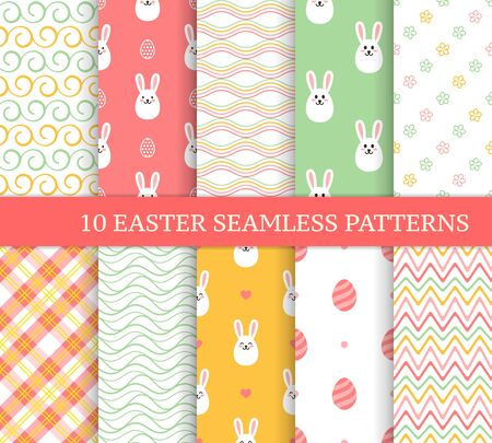 Ten different Easter seamless patterns. Endless texture for wallpaper, fill, web page background, texture. Colorful cute background with waves, zigzags, flowers, Easter rabbits and eggs