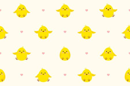 Seamless pattern with little chickens and hearts. Cute chicks with different smiles. Festive endless vector background for Easter or birthday.  Endless texture for wallpaper, web page, wrapping paper  Ilustração