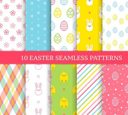 Ten different Easter seamless patterns. Endless texture for wallpaper, fill, web page background, texture. Colorful cute background with Easter bunnies, chicks and ornate eggs. Ilustración de vector