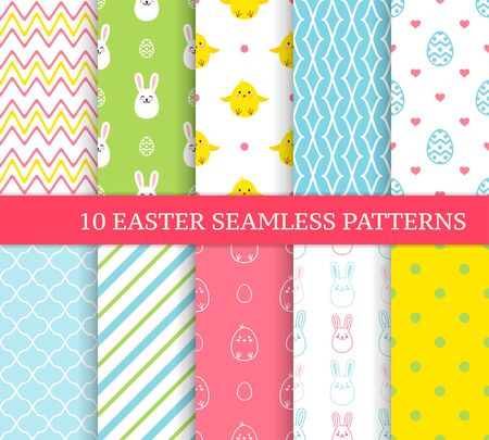 Ten different Easter seamless patterns. Endless texture for wallpaper, fill, web page background, texture. Colorful cute background with Easter bunnies, chicks, curved lines and ornate eggs. 矢量图像