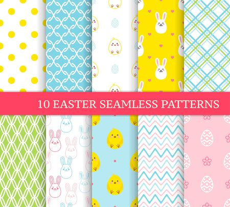 Ten different Easter seamless patterns. Endless texture for wallpaper, fill, web page background, texture. Colorful cute background with Easter bunnies, chicks, stripes, curved lines and ornate eggs.