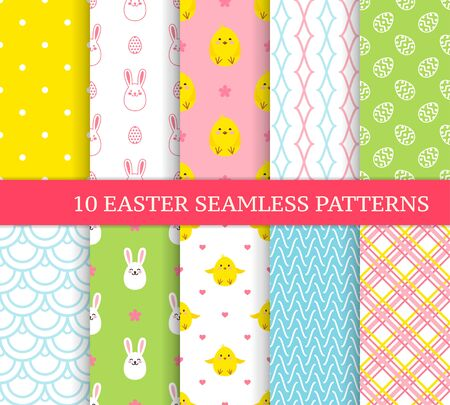 Ten different Easter seamless patterns. Endless texture for wallpaper, fill, web page background, texture. Colorful cute background with Easter bunnies, chicks, flowers, curved lines and ornate eggs.