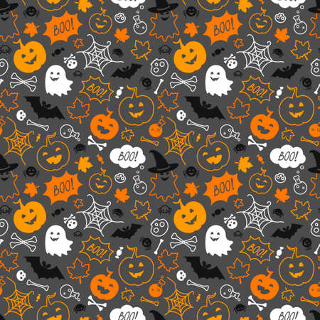 Holiday background with symbols of Halloween. Color seamless backdrop with ghosts, skulls, bones, potions, bats, pumpkins, spiders, maple leaves and speech bubbles with boo. 免版税图像 - 154094960