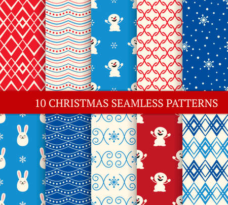 Ten Christmas different seamless patterns. Xmas endless texture for wallpaper, web page background, wrapping paper and etc. Retro style. Snowmen, snowflakes and bunnies