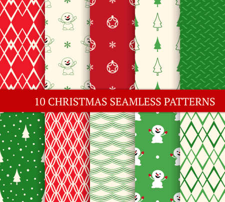 Ten Christmas different seamless patterns. Xmas endless texture for wallpaper, web page background, wrapping paper and etc. Retro style. Snowmen, snowflakes and Xmas trees