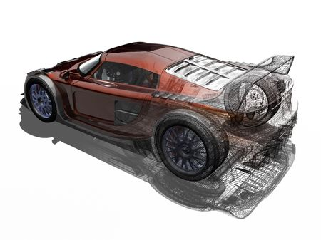 artificial model: 3d render of a sports car Stock Photo