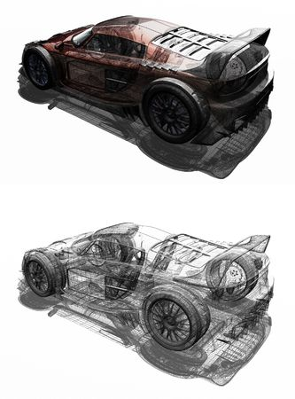 wireframe: 3d render of a sports car Stock Photo