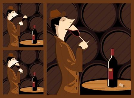 Les trois étapes de la dégustation d'un chai à barriques de vin avec une cave à vin comme une étape. Les trois étapes sont la vue, l'odorat et le goût. Banque d'images - 9935642