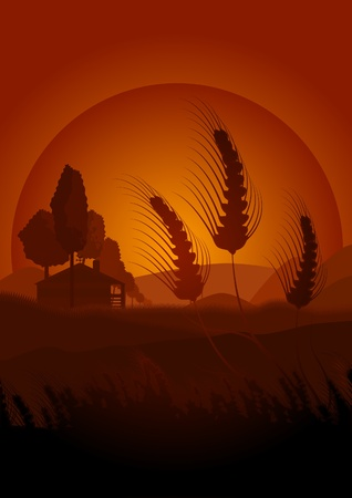 conveys: Bucolic scene of a hot afternoon in the fields of cereal. This illustration conveys peace and quiet of this scene. In the background you can see a house