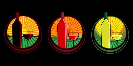 Wine bottle illustrations Stock Vector - 10445380