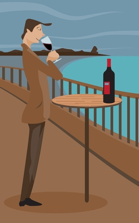 An illustration of a man sipping wine on a deck. Illustration