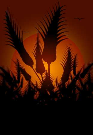 Illustration of silhouetted flowers with orange sunset background.