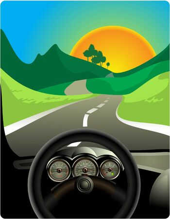 An illustration of a car driving on a long and winding road.  Vector
