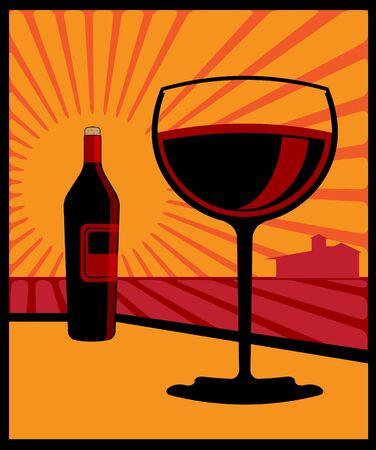 Una ilustración de una botella de vino y un vaso de vino tinto.
