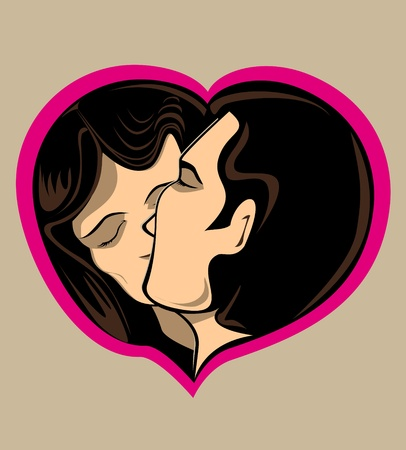 Cartoon illustration of couple kissing in pink love heart.