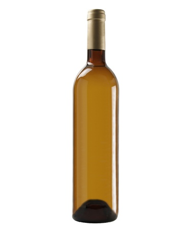 Bottle of white wine; isolated on studio background.