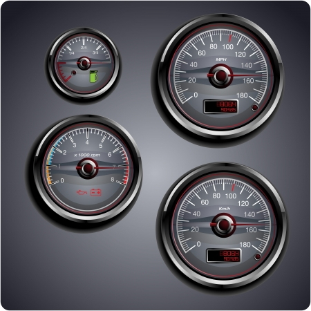 kph: Illustrated automobile gauges for gas, oil, battery and speed.